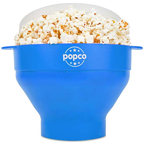 The Original Popco Silicone Microwave Popcorn Popper- 15 Colors Choices - Silicone Popcorn Maker with Handles, Collapsible Bowl Bpa Free and Dishwasher Safe - 15 Colors Available (Light Blue)