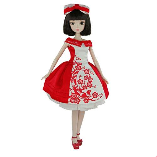 SaniMomo Flexible Joints Girl Doll 28cm Ball articulado muñeca niña cuerpo figura con conjunto completo ropa para DIY muñecas articuladas Accesorios 2 estilos - Rojo-Blanco