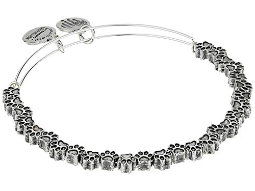 Alex and Ani Accents Paw Print Beaded Expandable Bangle for Women, Rafaelian Silver Finish, 2 to 3.5 in (A18BEAD05RS)