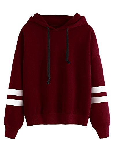 Minetom Damen gedruckt gestreifte pullover langarm-jacke tops sweat-shirt mit kapuze pure rot weiß 14