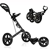 KXDLR Golf Push Cart, 3 Wheel Golf Cart Swivel One Second Folding Golf Trolley with Foot Brake, Push Pull Golf Carts with Cup Holder for Golf Clubs Men Women/Kids Practice and Game Golf Accessories
