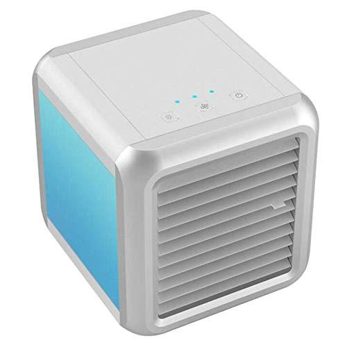 Sommer Kühlung Tragbarer Luftkühler Personal Klimaanlagen-Ventilator, Verdunstungskälte Wind Luftbefeuchter Purifier, 7 Farben-Nachtlicht, USB Quiet keine Leckage, Home Office, Weiss xiao1230