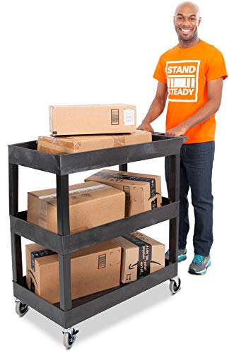Stand Steady Tubstr 3 Shelf Utility Cart | Heavy Duty Service Cart Supports Up to 400 lbs | Tub Cart with Deep Shelves | Great for Warehouse, Garage, Cleaning, Office & More (32 x 18 / Black)