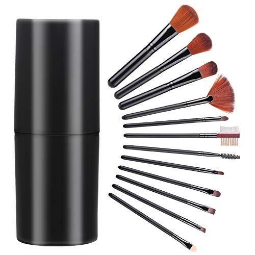 Wodasi Set de Brochas de Maquillaje Profesional 12 Piezas, Juego de Brochas de Maquillaje, Kit Brochas Maquillaje Premium Synthetic Set Brochas de Maquillaje, Brochas para Maquillaje Facial, Negro