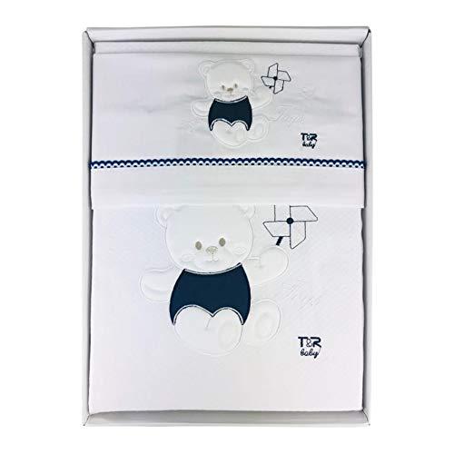Nada Home 2911 Parure de lit 4 pièces en coton brodé avec couverture Lettino bleu