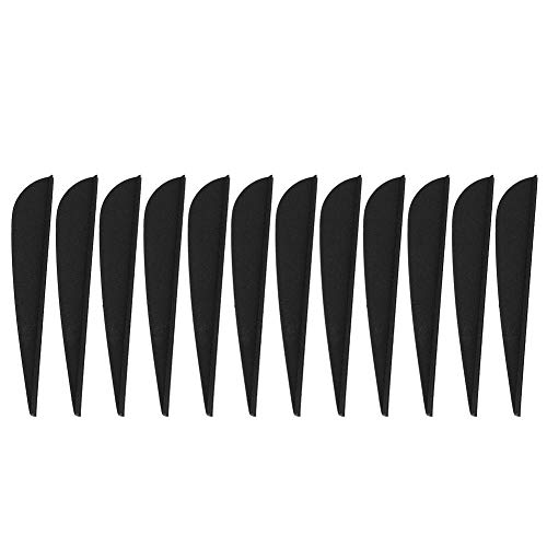 Alomejor 12 PCS Arrow Feather 3 Inches DIY Arrow Fletching Accessories for Archery Hunting Shooting(Black)