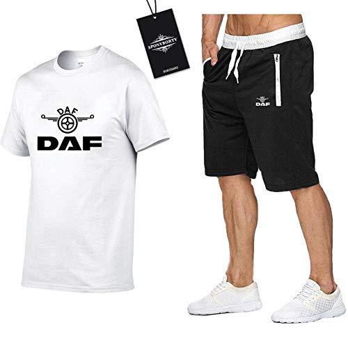 MAUXIAO Hombres Y Mujer Camiseta Bermudas Chandal Conjunto por D_A-F Dos Piezas Corto Manga Tee Pantalones Ropa Deportiva Z/Blanco/M