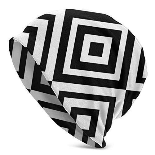 Zhgrong Schwarz Weiß Fylfot Geometric Rhombus Herren Damen Strickmützen Mützen Wintermützen