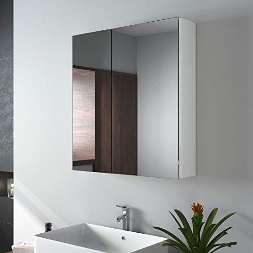 EMKE Spiegelschränke, 60x65cm Bad Spiegelschrank Badschrank mit Doppelseitiger Spiegel (Weiß)