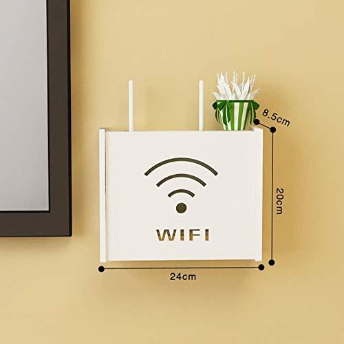 WYCYZJ Multifunctionele plank Draadloze Wifi Router Box PVC Wandplank Opknoping Plug Board Beugel Opbergdoos Bakken, WiFi