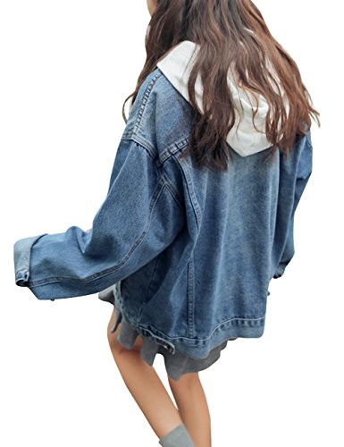 Women's Denim Jean Jacket Long Sleeve Slim Petite Outwear with Pocket Small Blue