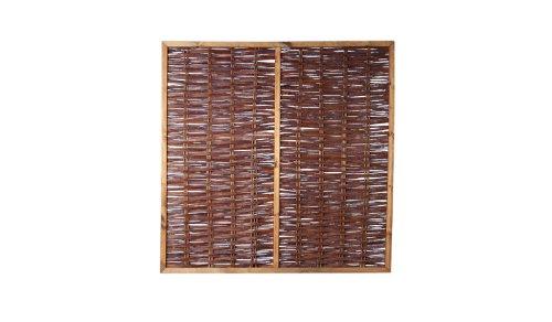 6 x Weiden-Zaun/Sichtschutz Weide im Maß 180 x 180 cm (Breite x Höhe) als Flechtzaun/Flechtzäune mit umlaufenden Rahmen mit Rankgitter aus braun gebeizten Holz