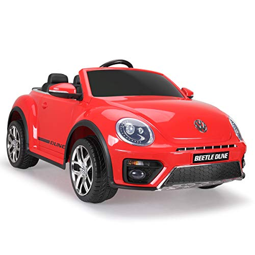 TOBBI 12V Licensed Volkswagen Beetle Dune Electric Cars for Kids with Remote Control,MP3 Player,FM Radio Bluetooth-Red