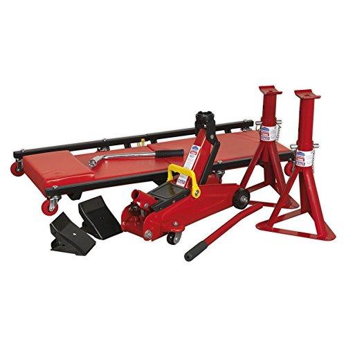 Sealey JKIT01,Kit di Sollevamento, 5PC, 2 tonnellate (INC martinetto, cavalletti assiali, Creeper,...