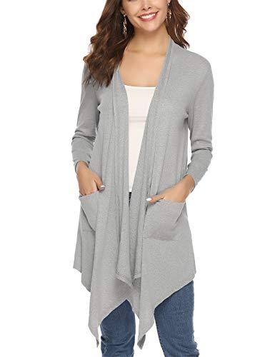Abollria dames waterval lange cardigan open gebreide jas met lange mouwen casual herfst jas met steekzakken