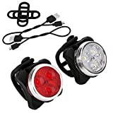 Budermmy LED Bike Lights, USB Rechargeable Bicycle Light Set Waterproof Front and Rear