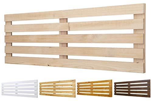 Cabecero de Madera Maciza Mod. Venecia para Camas de 80cm, 90cm, 110cm, 135cm, 150cm. Herrajes incluidosCIA (160cm X 60cm, Crudo)