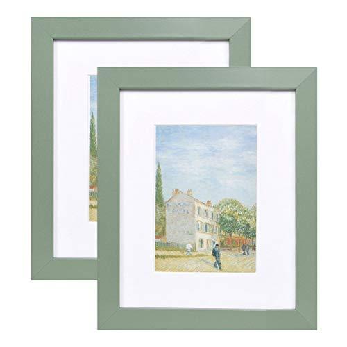 Muzilife Bilderrahmen 28x35cm 2er Set Fotorahmen, mit Passepartout für 20x25cm Foto, für Wohn- und Schlafzimmer Deco (Grün)