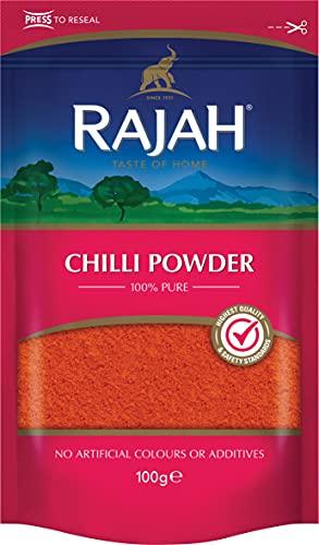 RAJAH Chile en polvo - Chilli Powder - mezcla de especias indias para numerosos platos 100 g