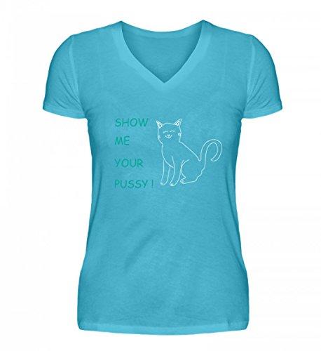 Show me Your Pussy (Cat) | Zeig Mir Deine Muschi-Katze Katzen-Liebhaber Geschenke - V-Neck Damenshirt