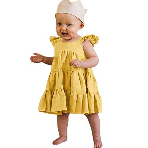 Julhold Robe de princesse élégante en coton pour bébé de 1 à 5 ans - Jaune - 2-3 ans