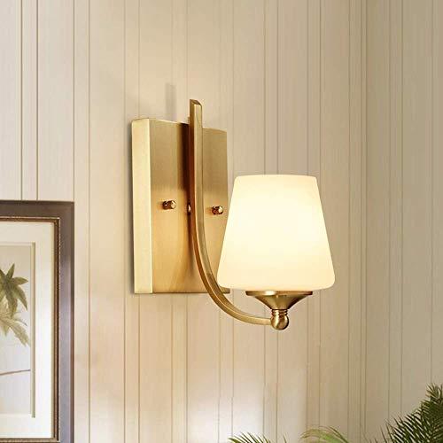 Apliques Pared American Copper lámpara de pared de la sala de estar dormitorio Europeo de noche Corredor de la lámpara del pasillo Escaleras de una sola cabeza de oro de cristal Led Soporte de Luz