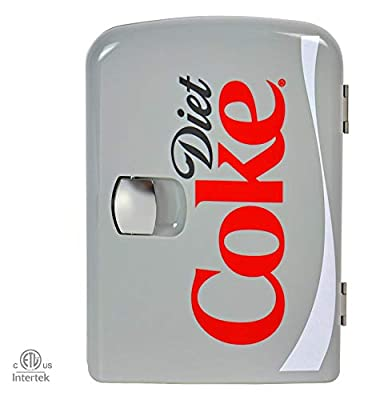 Coca-Cola Diet Coke DC04 4 Liter/4.2 Quarts 6 Can Portable Mini Cooler/Fridge, Beverages, Baby Food, Skincare and Medications-Use at Home, Office, Dorm, Car, RV or Boat-with AC & DC Plugs, Gray