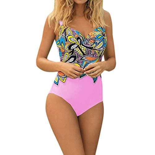 iYmitz Damen Einteiler Badeanzug mit Blumen Sommer Sport Elegance Swimwear Schnelltrocknend Bademode