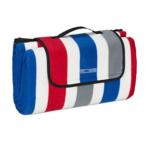 Relaxdays XXL Picknickdecke, 200x200 cm, Fleece Stranddecke, gestreift, wärmeisoliert, wasserdicht, mit Tragegriff, bunt