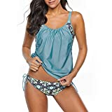Zando Womens Tankini Swimsuits Sporty Double Up Slimming Tummy Control Swimwear Two Piece Bathing Suits for Women Athletic Swimsuits Ladies Swimsuits Maternity Swimwear Cute Green Blue X-Large