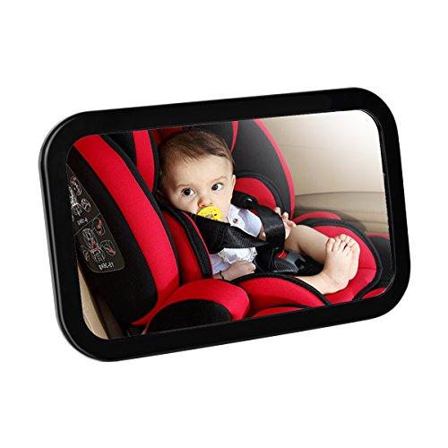AsapGot Rücksitzspiegel für Babys, Babyspiegel für Autositz Einstellbar Babyschalenspiegel Sicherheitsspiegel für Babyschalen Schwarz (Schwarz)