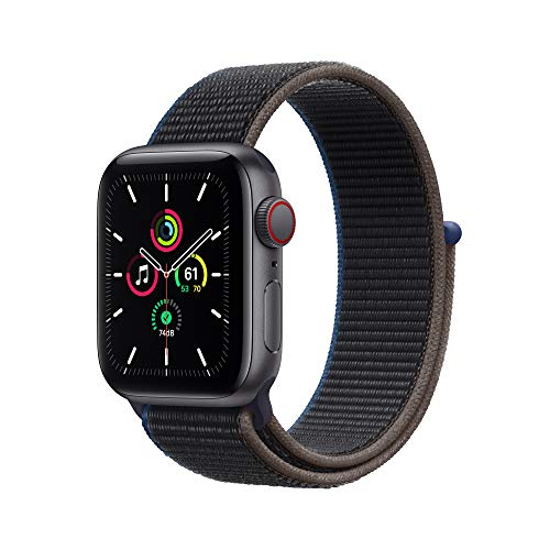 New Apple Watch SE (GPS + Cellular, 40mm) - Silver Aluminum Case with Deep Navy Sport Loop