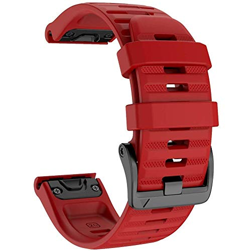 YOOSIDE for Fenix 6X ProSapphire Silicone Watch Strap 26mm Quick Release Easy Fit Soft Sport Waterproof Non allergenic Wrist strap for Garmin Fenix 5X5X PlusFenix 3Quatix 3Tactix Bravo Red
