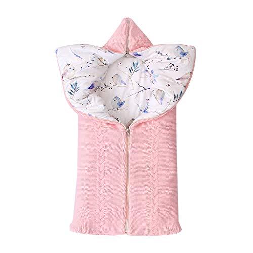 0 a 12 Meses Saco de Dormir Unisex para Bebés Recién Nacidos Calentar Punto Encapuchado Manta para Bebé Carrito de Bebé Blanket Manta para Paseante