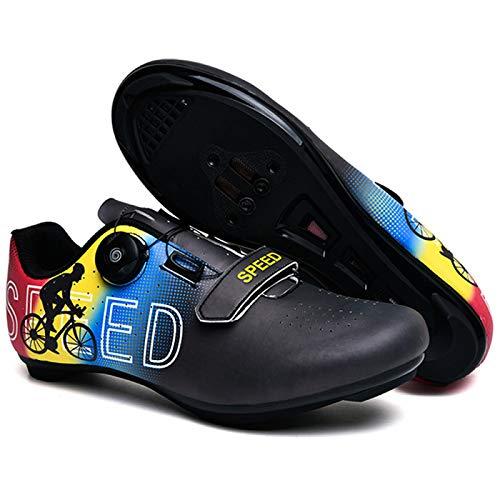 AGYE Calzado de Ciclismo para Hombre,Zapato de Bicicleta de Carretera,Zapatos Peloton con Hebilla Compatibles con Delta para Carreras de Equitación en Interiores,Black-EU38