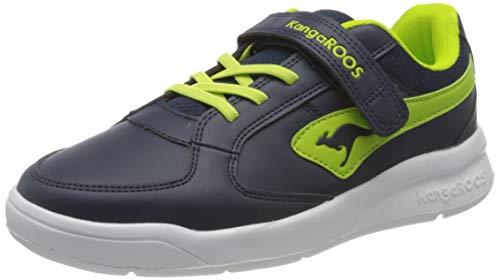 KangaROOS Unisex-Kinder K-Cope EV Sneaker, Dark Navy/Lime 4054, 35 EU