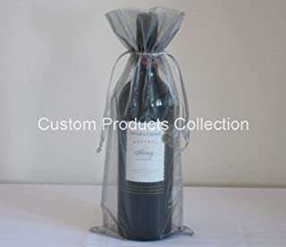 12 Silver Organza Bags - Bottle/Wine Bags Gift Pouch, 6