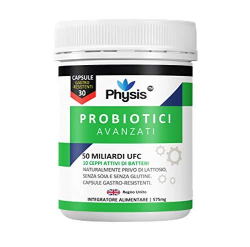 Probiotici Avanzati Physis | 50 Miliardi Di Ceppi Batterici Ogni Giorno | 30 Capsule | Alta Resistenza | Batteri Utili| Promuove Il Benessere Globale | Sostituisce I Batteri Buoni | Combatte Numerose Condizioni | Prodotto Sotto Norme Rigorose Nel Regno Unito.