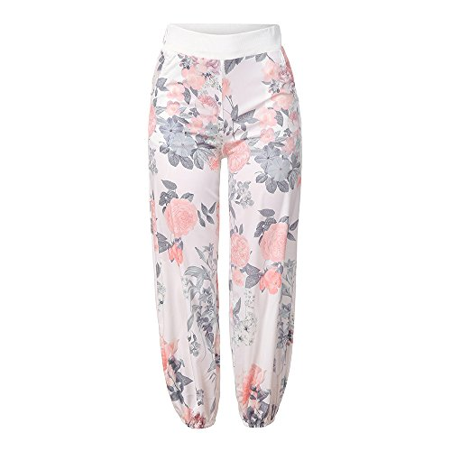 Broeken Autumn Summer Locker Dames Floral Broeken Lange broek Baggy Leggings Plus Size X-Large wit