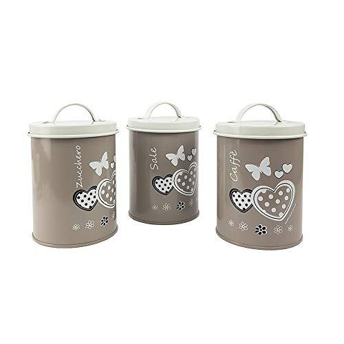 BuyStar Tris Barattoli da Cucina in Latta Vintage con Decorazione Cuori, Sale Zucchero caffè, 3 Colori - 15 Cm (Tortora)