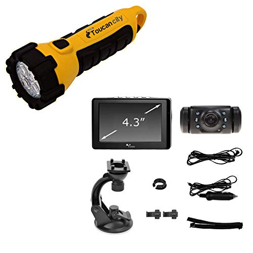Toucan City LED Flashlight and Yada Digital Wireless Backup Camera with 4.3 display BT53328M-1