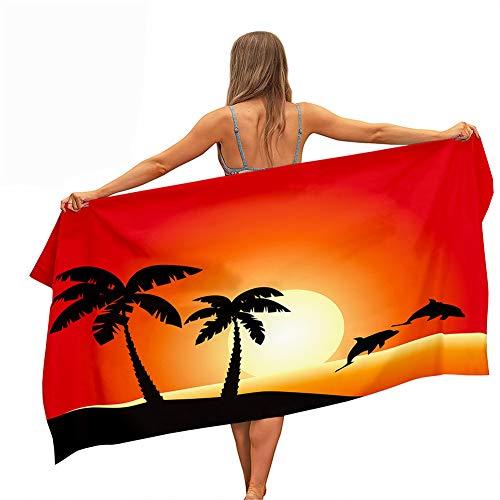 Toalla de Playa Grande Rectángulo, Chickwin Microfibra Absorbente Toalla Manta de Verano para Piscina Playa Viaje Camping, Compacto, Resistente a la Arena (Cocotero 3,80x180cm)