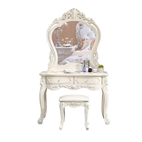 Juego de tocador, Muebles de Dormitorio de Escritorio de Maquillaje Simple Europeo, tocador romántico de Princesa con Taburete, Espejo y tocador de 2 cajones