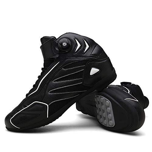 MRDEAR Zapato Moto Hombre Verano, Botas de Moto Motocross Microfibra Zapatillas Motorista Transpirables Calzado Deportivo Sneakers con Ajuste del engranaje (42 EU,Negro blanco)
