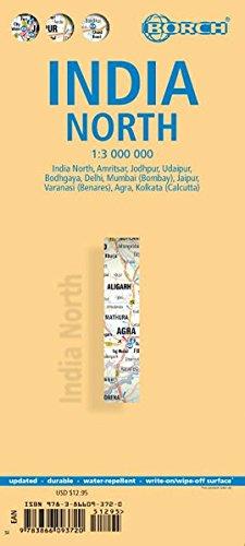 India norte, mapa de carreteras plastificado. Escala 1:1.000.000. Borch.: Einzelkarten: India North 1:3 000 000, Delhi 1:30 000, Mumbai 1:30 000, ... 1:30 000, Boghgaya 1:15 000 (Borch Map)