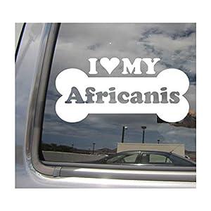 I Heart Love My Africanis - Dog Bone Africa Bantu Zulu Pure Breed Cars Trucks Moped Helmet Hard Hat Surfboard Skateboard Auto Automotive Craft Laptop Vinyl Decal Store Window Wall Sticker 13016 28