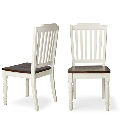 Inspire Q Mackenzie Country Style Two-Tone Dining Chairs (Set of 2) by Classic Slat Back Antique White