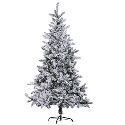 Homcom Albero Di Natale Artificiale Alto 180 Cm Effetto Neve Con 472 Punte Per Le Decorazioni Natalizie
