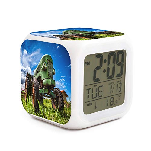 TEKEN Fashion Green Old Farm Tractor Antique 7 LED Color Change Digital Thermometer Alarm Clock with LCD Display Cube Night Light for Kids