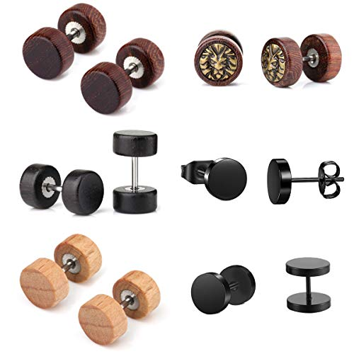 6 Paare 1.2mm Sono Holz Ohrstecker Set 8mm Fake Herren Damen Ohrstecker Fake Tunnel Plug Cheater Illusion Baum des Lebens Tunnel Barbell Buchenholz Ebenholz Stud Ohrring Set